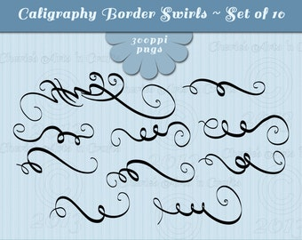 Swashes Calligraphy Border | Digital Borders | Digital Download Calligraphy Clip Art | Digital Scrapbooking | Swashes Clip Art | Cliparts