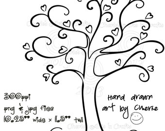 Heart Tree PNG and JPG Graphics, Digital Download File, Tree Clip Art, Heart Tree, Whimsical Art, Instant Download, Tree Clipart, Cute Trees