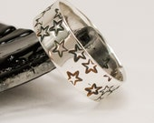 Stars Wide Band Ring - Stars Wedding Band - Bold Silver Band Ring - Star Jewelry - Galaxy Jewelry - Handmade Jewelry