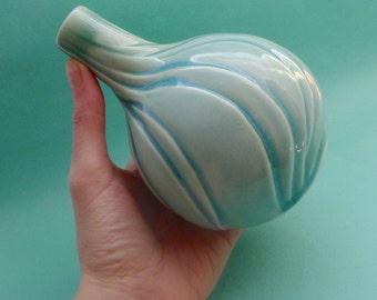 Rivulets porcelain vase -  thrown & altered handcarved ceramic celadon blue green petal bud vase