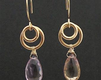 Goldfill Wired Ametrine Earrings, Yellow Goldfilled Ametrine Jewelry, Wire Wrapped Purple Yellow Gemstone Earrings, Wired Gemstone Earrings