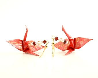Gold Cherry Blossoms on Red Origami Crane Earrings -- small Jewelry