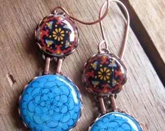 Blue Statement earrings, OOAK, Mexican fiesta jewelry, dishes, Mexican Cinco de Mayo, drop earrings, Talavera plates, MTO