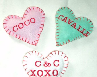 PERSONALIZED/CUSTOM Organic Catnip Conversation Heart toys for Valentines Day (package of 3)