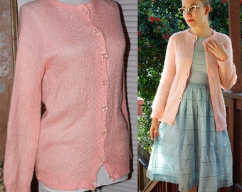 COTTON CANDY 1940's 50's Baby Pink Mohair Wool Cardigan Sweater with Glass Buttons size Small