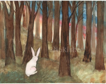 Original Watercolor Rabbit Painting - Rabbit in the Woods - Woodland Wall Art