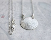 Sterling silver moon necklace,  lunar simple everyday sterling silver circle disc jewelry