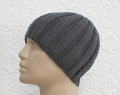 Charcoal grey ribbed beanie hat, skull cap, men's hat, women's hat, grey hat, knit hat, beanie hat, toque , ski, snowboard, musician, biker