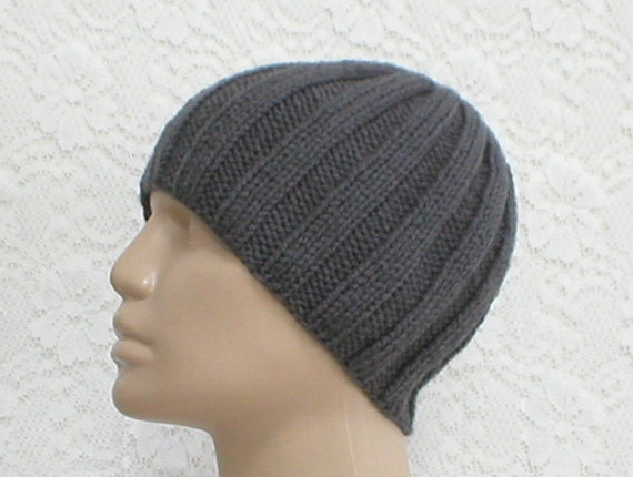 Charcoal grey ribbed beanie hat skull cap knit toque grey