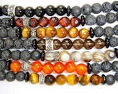 Lava Rock Beaded Bracelet with Semi Precious Gemstone, Jet, Sterling Silver & Macasite Beads