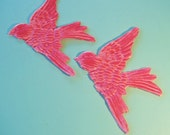 Pair PINK BIRDS  Millinery Velvet Pressed Pieces Large  Embossed from Antique Molds MORE AVAlLABLE