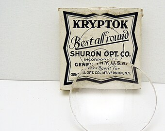 Vintage Uncut Eyeglass Optical Lens (2)  Kryptok Round Cabochon Cover Leaded Glass Original Box MORE AVAILABLE