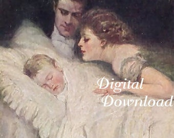 Digital download.Mother and father watch over child while the child sleeps. Make tags, sachets, pillows,note cards,altered art,decoupage