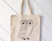 Owl Canvas Tote Bag - silkscreen, nature, owls