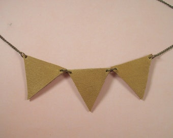 Leather Pennant Banner Necklace