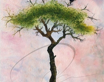 Look Out - Watercolor Art Print Murder of Crows Tree Crow Painting Summer Birds Green Available in Paper and Canvas by Olga Cuttell