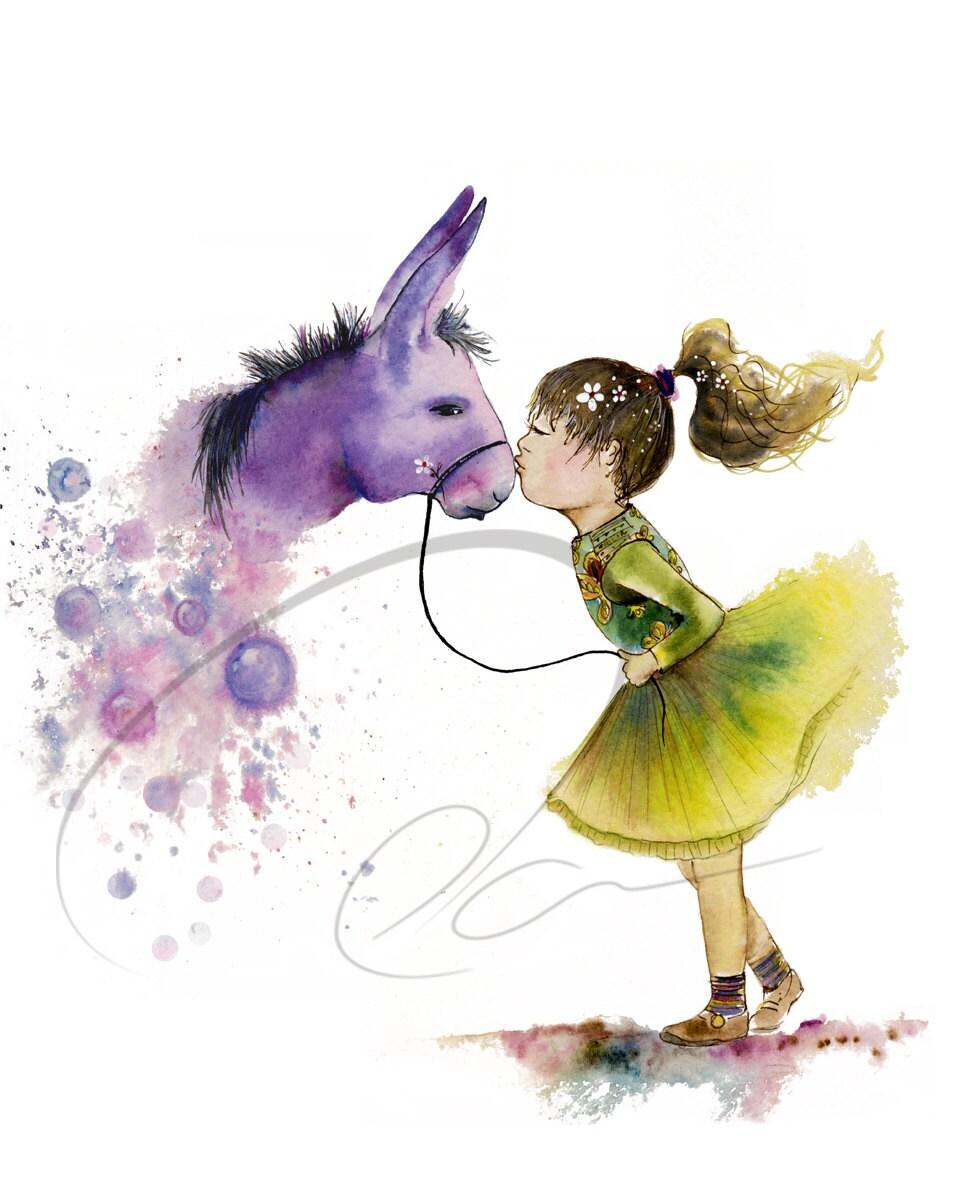 Magic Kiss Watercolor Art Print Cute Pony Girls Room Wish