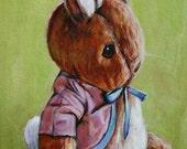 Peter Rabbit Nursery Art Giclee Print of Original Painting 8x10