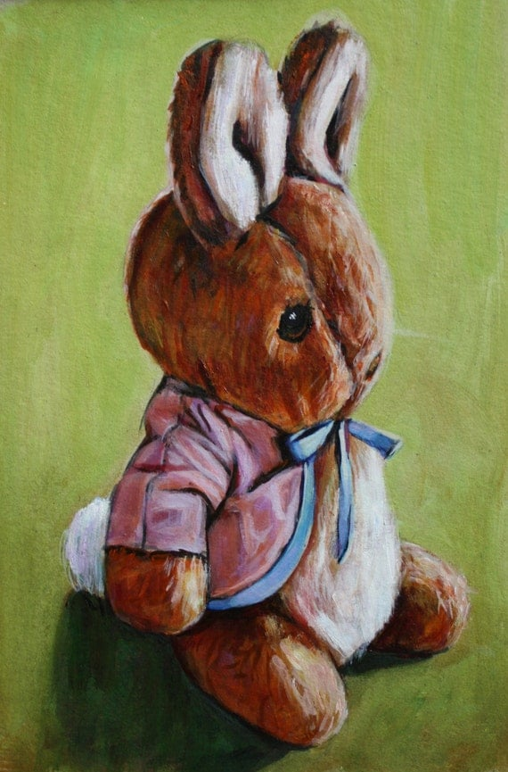 Toys For Painting : Peter rabbit nursery art giclee print of original painting