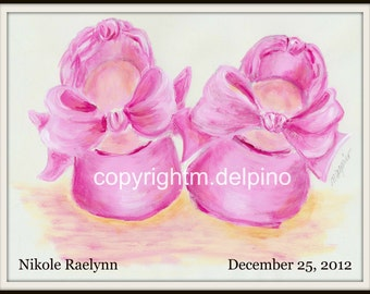Baby girl Birth announcement Keepsake Personalized name pink ballerina baby shoes print