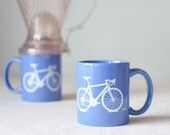 Bike mug - blue and white - screen printed bicycle coffee cup