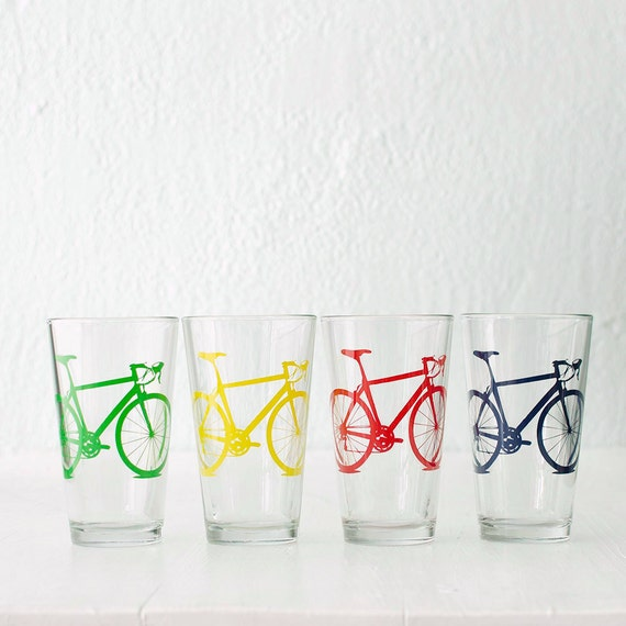 BIKE PARTY GLASSWARE set of 4 screen printed bicycle Pint  or Rocks glasses