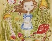 Original painting Alice in Wonderland, 8x10