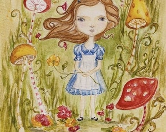 Original painting Alice in Wonderland, 8x10