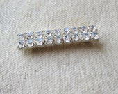 Vintage Jewelry Double Row Rhinestone Bar Pin