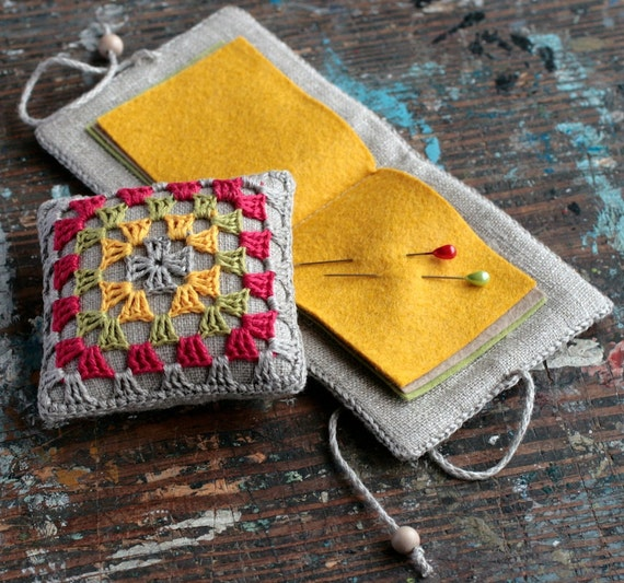 Gift set -- linen pincushion and needle book -- granny square