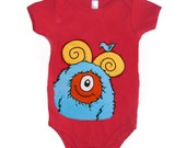Baby Monster Onesie - Red with Aqua Monster size 6 month
