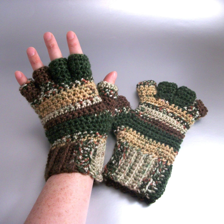 Oakmoss Half Finger Crochet Gloves Teens to Womens Medium