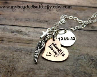 Remembrance necklace-Hand stamped jewelry-personalized jewelry-always in my heart