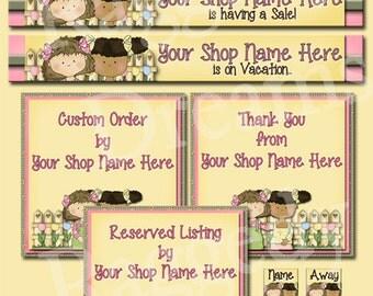 Premade Etsy Shop Set - Premade Etsy Banner - Etsy Shop Banner - SHOP ICON - Shop Profile - Little Girls