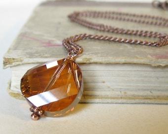 Crystal copper Twist pendant Swarovski crystal coin on antique copper
