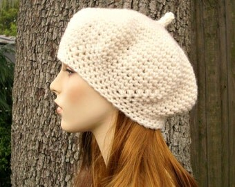 Crochet Hat Cream Womens Hat - Directors Beret in Fisherman Cream Crochet Hat - Cream Hat Cream Beret Cream Beanie Womens Accessories