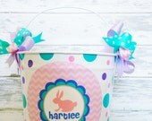 custom 10 QUART bucket with Easter bunny with pinks, lavender and aqua