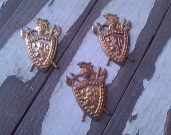 Brass Stamping. Knight and Shield. Vintage. New Old Stock. One.