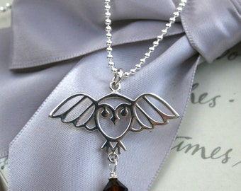 Sterling Owl necklace with crystal drop in your choice of color