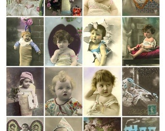 CHUBBY CHEEK BABIES Vintage Images - Instant Download Digital Collage Sheet