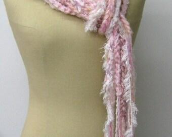 Sale Softest pink braids Gypsy Fringe Scarf skinny lariat Hippie crochet neck wear