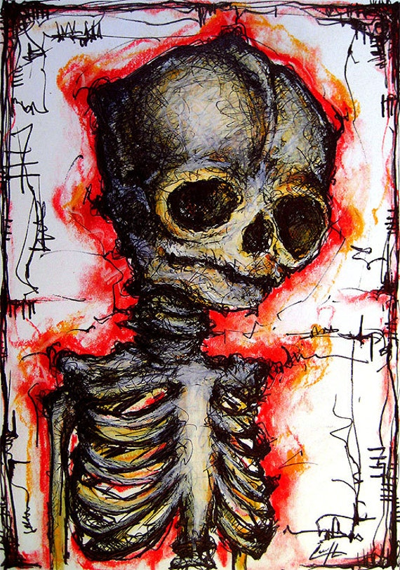 Sad Skeleton Original Drawing Skull Dark Art Horror Cute