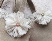 Vintage Lace and Pearl Jute Bags for Bridesmaids