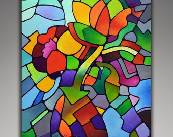 Abstract art, giclee print on canvas from my geometric floral original painting, Mosaic Bouquet, floral art, flowers, vase, still life