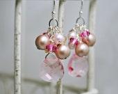 Pink Bridesmaids Earrings, Wedding Cluster Dangle Earrings, Bridal Earrings, Rose Briolette Swarovski Crystals, Pink Almond Pearls
