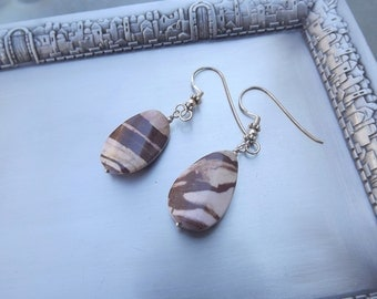 Exotic Zebra Jasper Sterling Silver unique handmade earrings