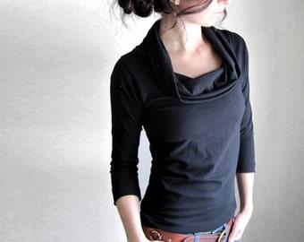 Black Organic Cotton Blouse, Cowl Top, Womens Tunic, 3/4 Sleeve Tshirt, Womens Clothing, Organic Fabric, Custom Made Shirt