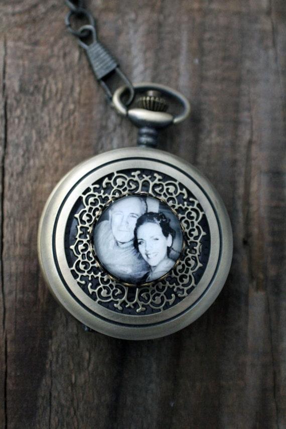 Custom Pocket Watch - Personalized Bronze Photo Pocket Watch - Customized with Your Photograph - Gift for Dad, Husband, Groomsmen, Grandpa