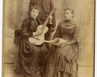 Unique Rare Antique 1880s 1890s Cabinet Card Portrait of Two Women and a Man // A Woman with a Guitar // A Woman Holding Paper Sheet Music