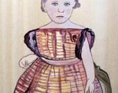 Original Art Acrylic on Wooden Panel Board Civil War ERa Little Girl School Bell Ringer Full Dress